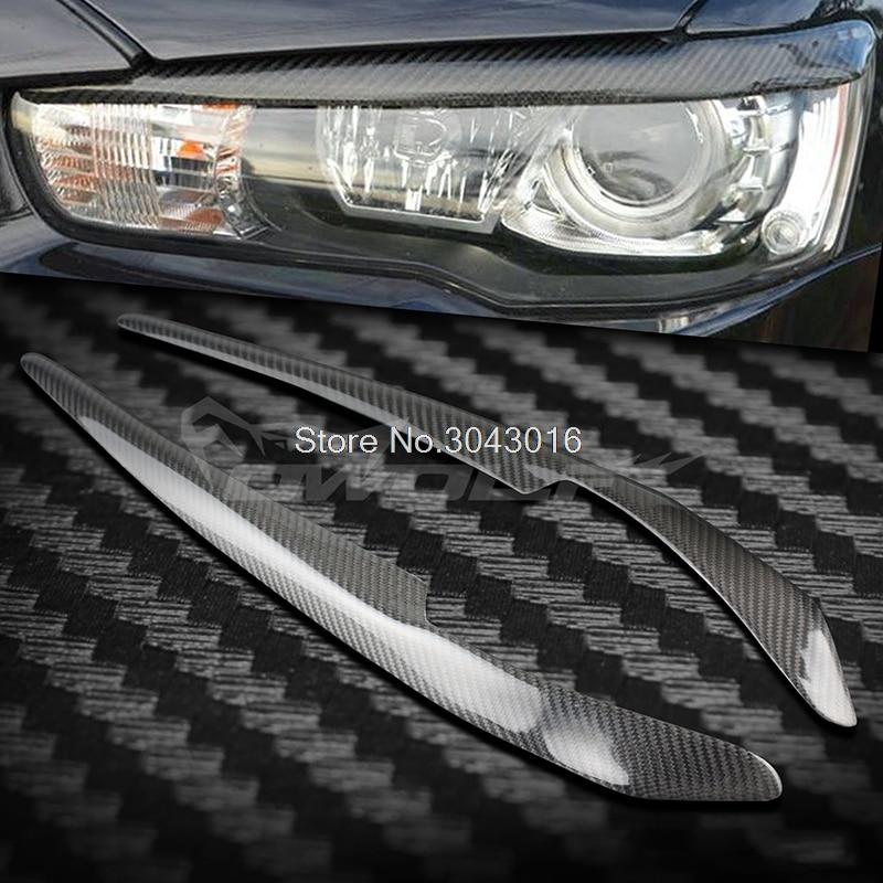 High Quality Real Carbon Fiber decoration Headlights Eyebrows Eyelids cover For Mitsubishi Lancer EVO 2008-2014