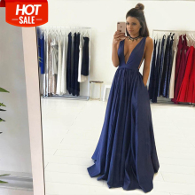 Bbonlinedress Prom Dresses 2019 V-Neck Evening Dress Taffeta Gown with Pockets Hot sale Formal Party robe de soire