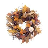 55cm Christmas Simulation Wreath Home Ornament Artificial Maple Leaf Sunflower Berry Hanging Ornament For Thanksgiving Halloween