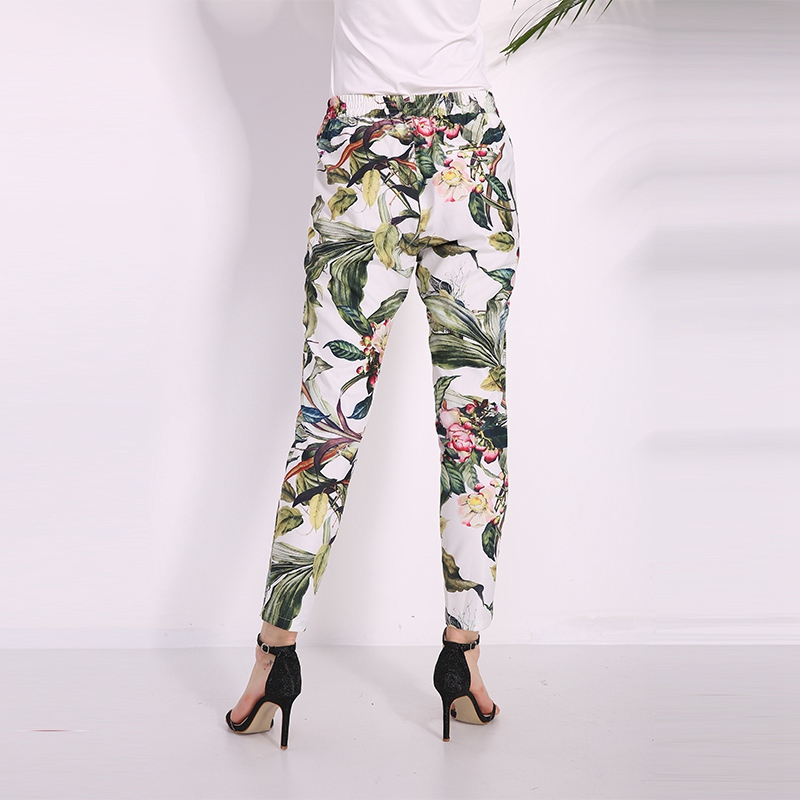 1f4ac92785e74a 2018 Summer Women Pants Fashion Bohemian Floral Print Pants Vintage Casual  Pockets Mid Elastic Waist Long Trousers Size S XXL-in Pants & Capris from  Women's ...