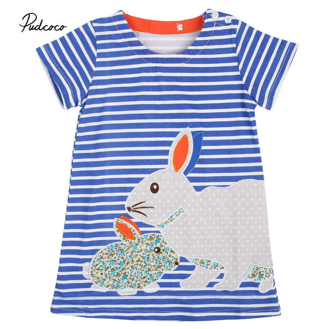 9b289bfda71a Pudcoco 2017 Hot Cute Baby Kids Girls Summer Dress Rabbit Cartoon Striped Dress  Clothes 2-