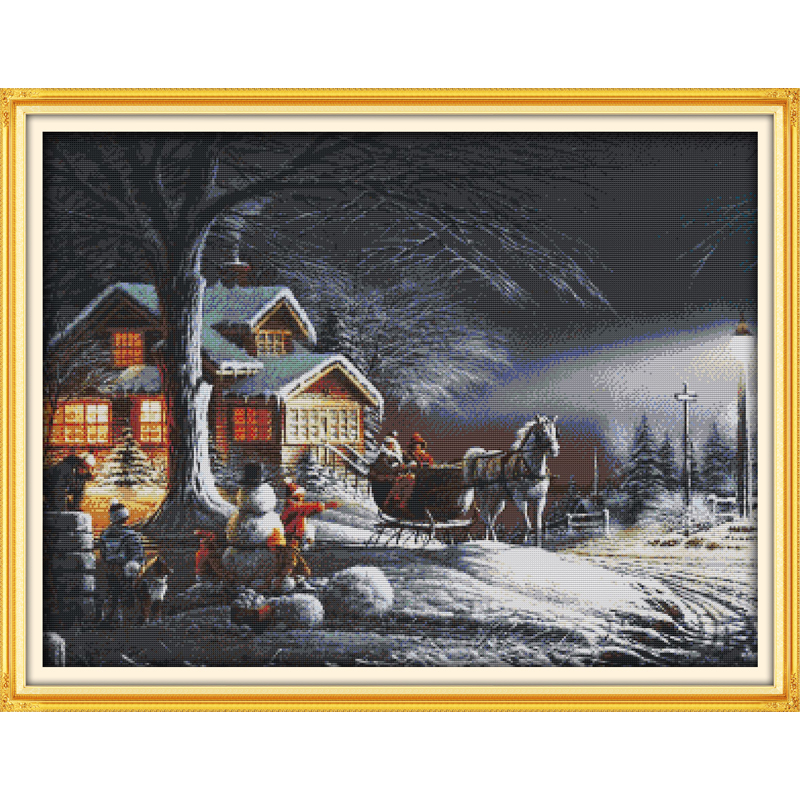 Everlasting love Christmas  Winter snow Ecological cotton Chinese cross stitch kits stamped 11CT 14CT New year sales promotion
