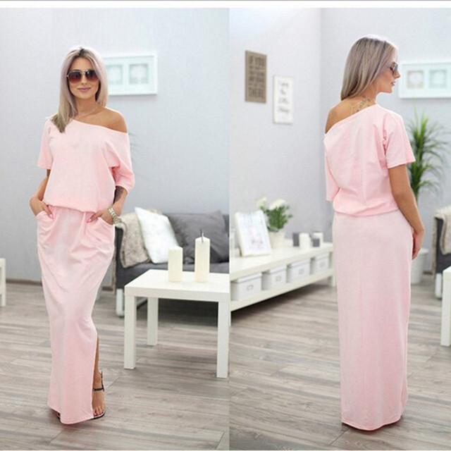 Sexy Summer Women Boho Maxi Dress Short Sleeve Side Slit Loose Evening Party Long Beach Dress with Pocket Vestidos KH804156