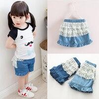 Kz-3836 2017 Summer Wear Korean Lace Lace Girl Children's Garment Baby Children Tight Pants Shorts Jeans