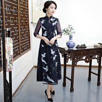 Novelty Summer Womens Long Cheongsam Vintage Chinese Style A Line Dress Casual Loose Qipao Vestidos Size