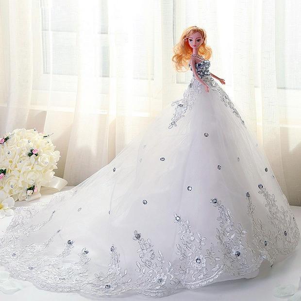 Doll + Dress / Luxury White Rhinestone Lace Bride Wedding ...