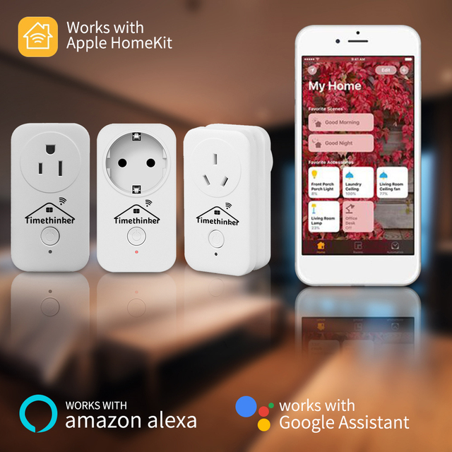 Timethinker casa inteligente WiFi Homekit hembra para Apple Homekit Alexa de Google es Reino Unido UE nos salida APP Siri control remoto