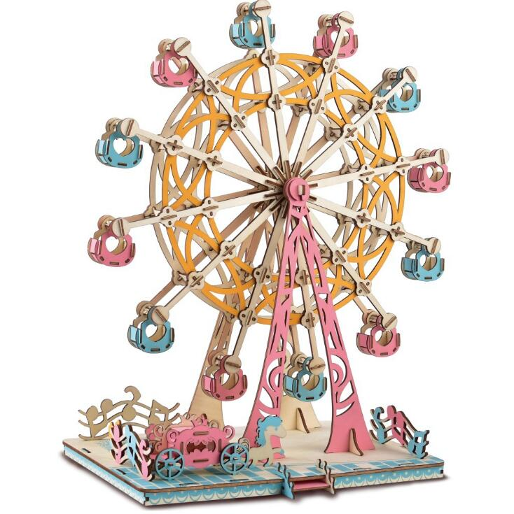 Differet Type 3D House And Ferris Wheel Toys Puzzles Three-dimensional Wooden Model Laser Cutting Processing Handmade Toys