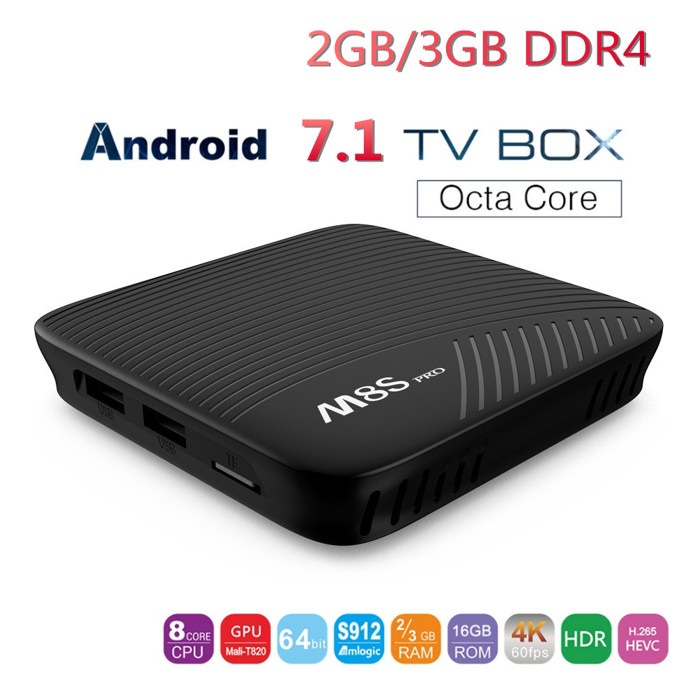 MECOOL M8S PRO Smart TV Box Max Android 7.1 RAM 2GB 3GB DDR4 ROM 16GB Amlogic S912 Octa Core UHD 4K 2.4G 5G WiFi Set-top Box