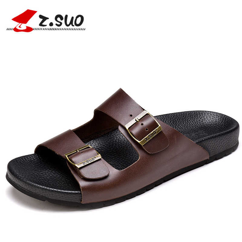 a25ffa9ea94935 z.suo Luxury Brand Brown Slippers Men Metal Buckle Cow Leather Beach Shoes  Outdoor Summer
