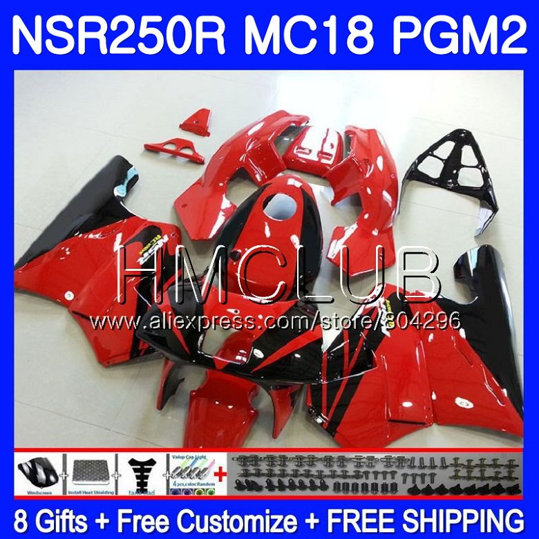 Kit For HONDA <font><b>NSR</b></font> <font><b>250</b></font> R MC18 PGM2 <font><b>NSR</b></font> 250R Factory red NS250 NSR250R 88 89 93HM.21 NSR250 R RR NSR250RR 1988 1989 88 89 Fairing image