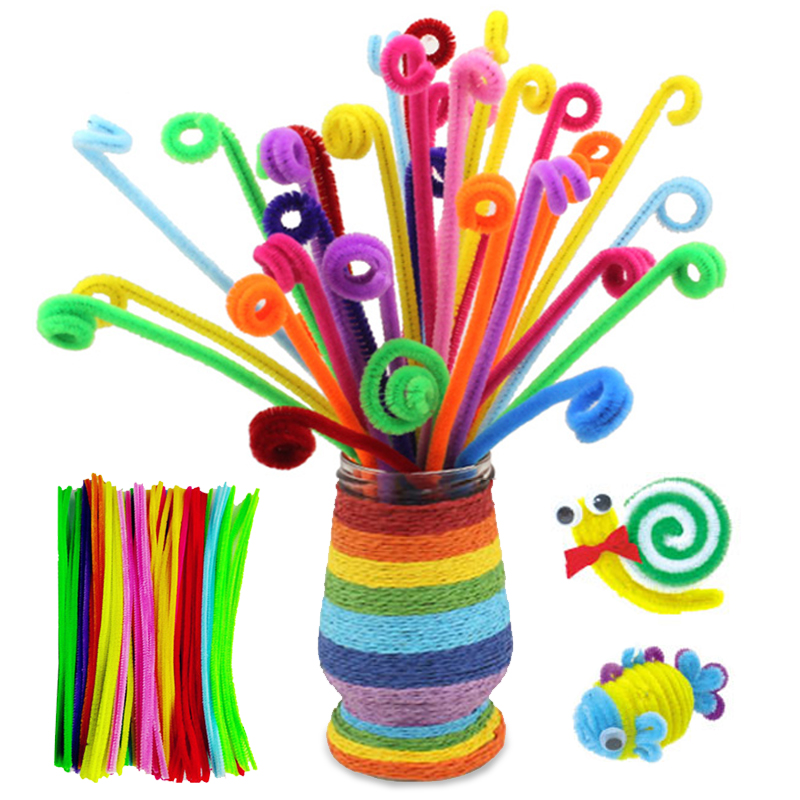 DIY 100pcs /Set Montessori Materials Chenille Children Educational Toy Crafts For Kids Colorful Pipe Cleaner Toys Craft