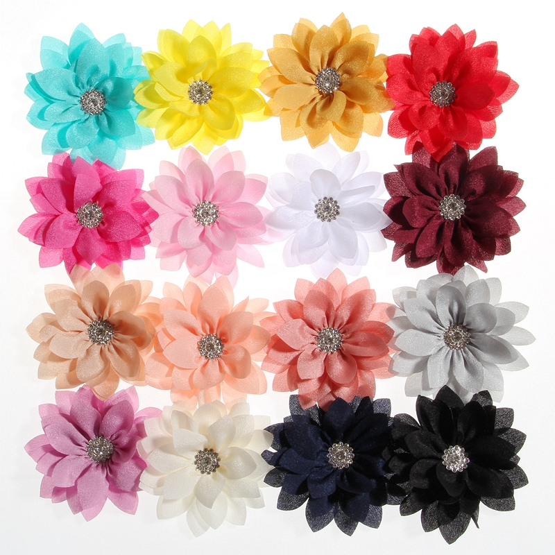 10PCS 8.5CM 3.4inch Newborn Lotus Leaf Flowers With Rhinestone For Headbands Artificial Fabric Flower For Hair Accessories