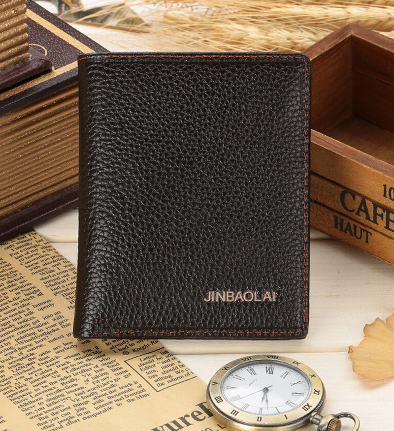 Men Wallets Business Quality 100% Genuine Leather Wallet Black Coffee Short Vertical Style Card Holder Purse Free Shipping DS012 hong kong olg yat handmade carving wallet eagle mat men s brief paragraph vertical purse italian pure leather short wallets