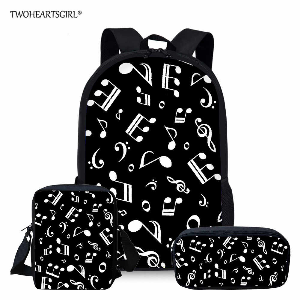 Twoheartsgirl School bags for Teenage Girls Music Note Travel Backpack Women Girls Bag Drop Shipping mochila feminina