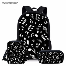 Twoheartsgirl School bags for Teenage Girls Music Note Travel Backpack Women Bag Drop Shipping mochila feminina