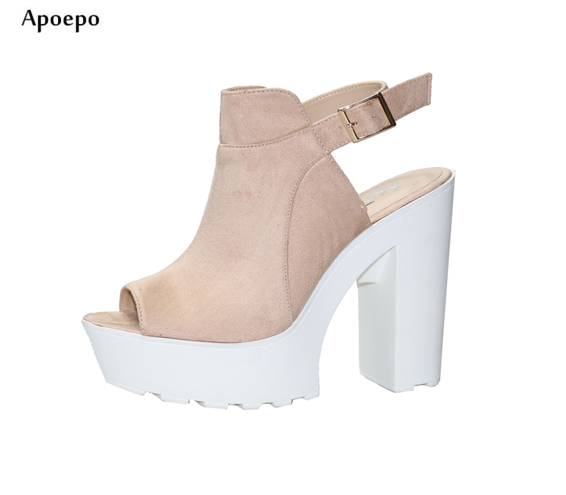 Apoepo Summer Hot Selling 15cm Thick Heels Woman Sandal Sexy Peep Toe Ankle Strap High Heel Shoes Fashion Platform Sandal hot selling beige black suede fringed platform sandal thick heel summer ankle strap women sandals peep toe cut out dress shoes