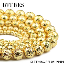 BTFBES 18 Gold Lava Hematite Natural Stone Beads 4 6 8 10 12mm Round Loose Spacer for DIY Bracelet Necklace Jewelry Making
