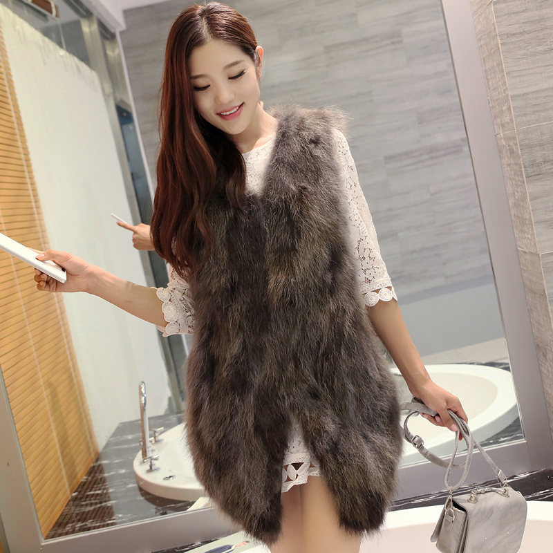 Real Fur Parka Women Winter Jacket Real Raccoon Fur sleeveless mink coat coat real fur coat natural Raccoon dog fur real price