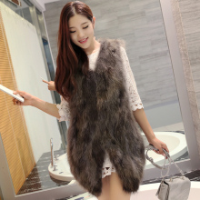 Real Fur Parka Women Winter Jacket Raccoon sleeveless mink coat real fur natural dog price