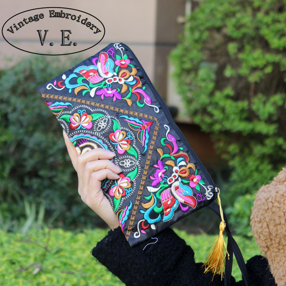 New Element National Trend Embroidery Bag Storage Bag Wallet Double Faced Embroidered Coin Purse Clutch Handbag national trend women handmade faced flower embroidered canvas embroidery ethnic bags handbag wml99