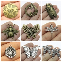 Vintage Carved Butterfly Decoration Mix Charms For Jewelry Making Diy Craft Supplies butterfly wings women bee jewelry