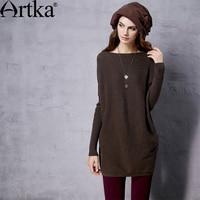 Artka Women S 2015 Autumn New Vintage Wool Sweater Solid Color Elegant All Match Medium Long