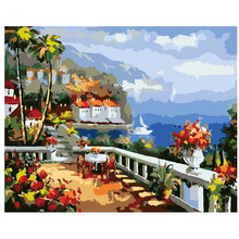 Picture On Wall Modern Abstract Seaside House Painting Drawing By Numbers  Gift DIY Beautiful Coloring