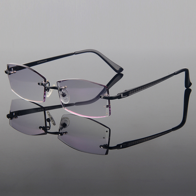 Voguish Diamond Trimming Cut Titanium Alloy Optical Frame Men Models Rimless Finished Prescription Spectacles Frame Black