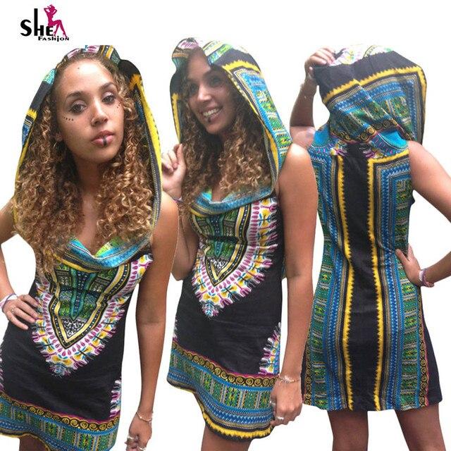 Традиционные Африканские dashiki платье 2016 Летние Женщины С Капюшоном Платья Сарафан Печати Рукавов Старинные плюс размер африканская одежда