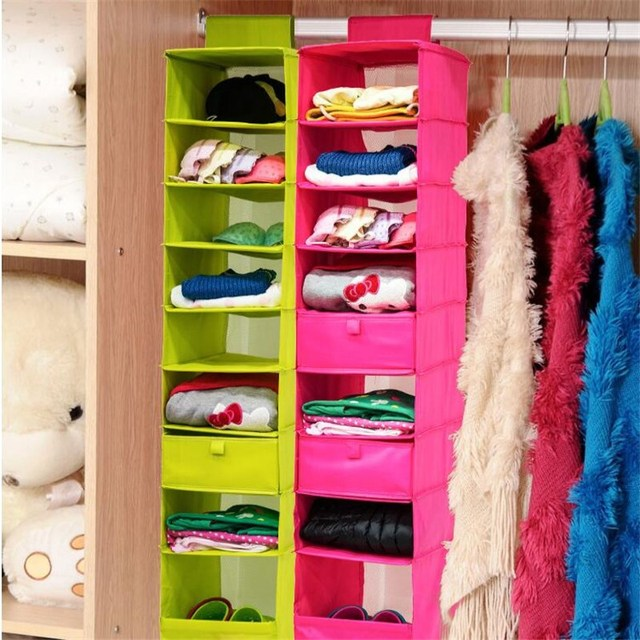 9 Shelf Clothes Closet Washable Organizer Hanging Accessory Shoe Collection  Organizer Shelves Vacuum Bag Box