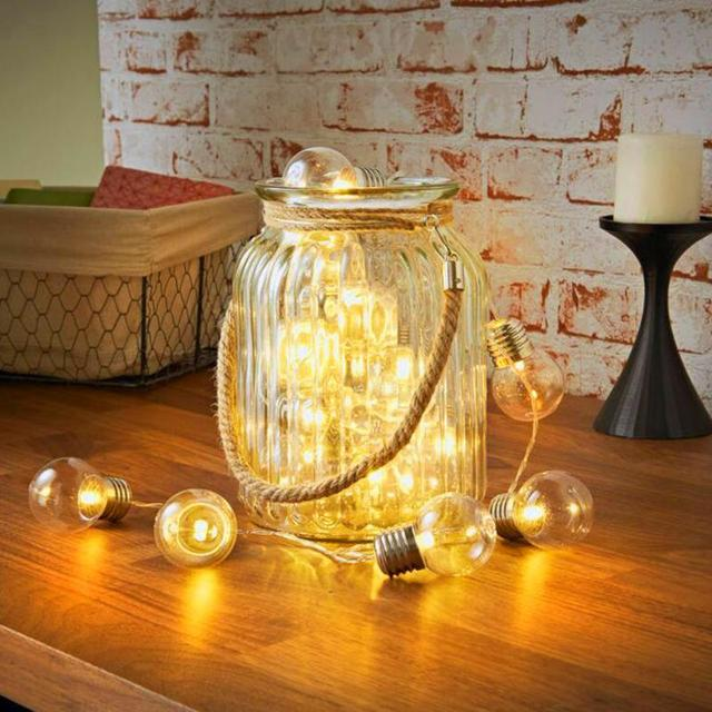 G40 20 LED Retro Round Bulb Waterproof Warm White Light Battery Power String Lights Lamp Outdoor Home Decor