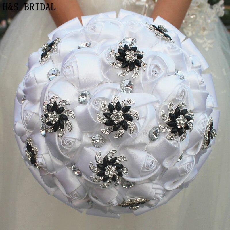 H&S BRIDAL Satin Rhinestone Wedding Bouquet Bridal Bouquets Wedding Accessories Artificial Wedding Bouquets Buque De Noiva 2019