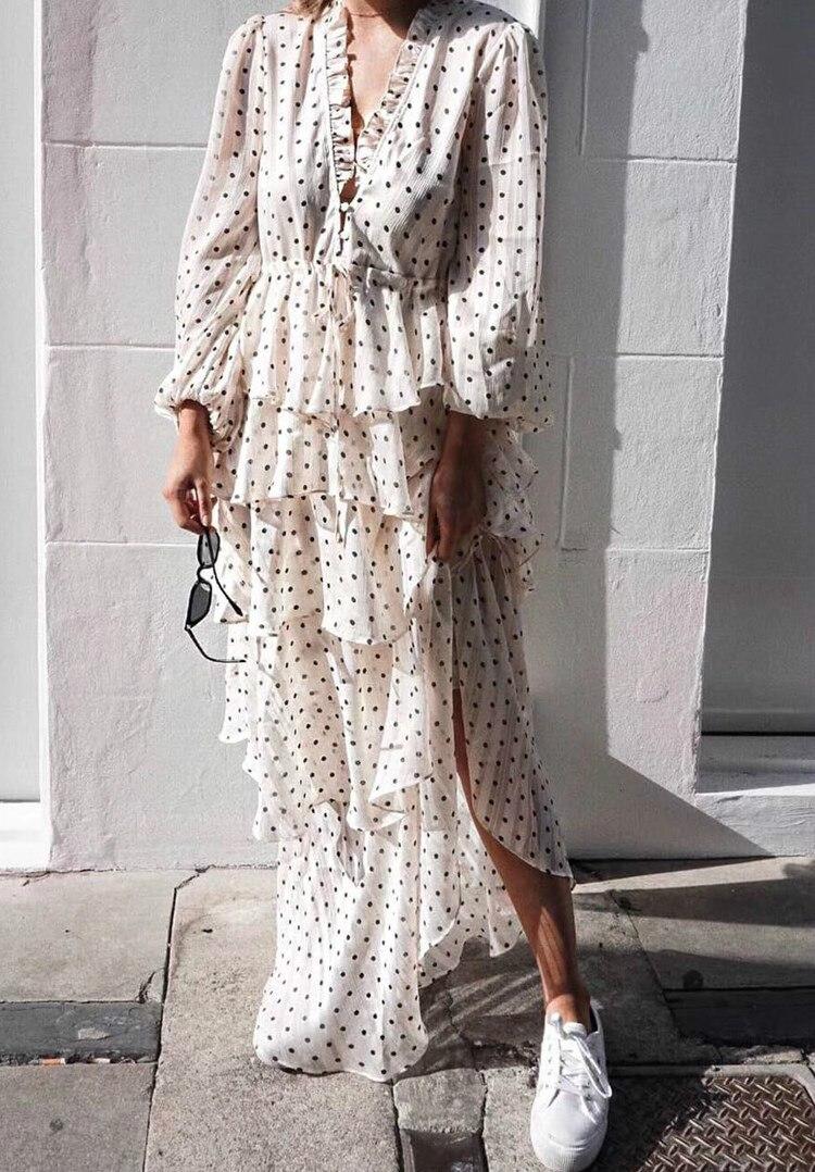 Bohème Vintage Volant Polka Dot Robe Femmes Banquet Blanc Longue Partie Robes À Manches Longues Automne Robe Femme Robes D'été