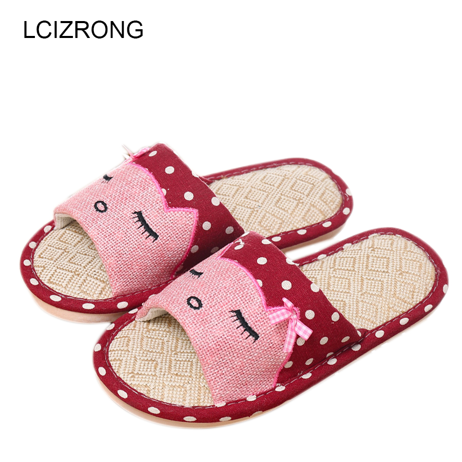 LCIZRONG Summer Home Beach Slipper Women Indoor Bedroom Cartoon Cat Slippers Woman 5 Color Large Size Shoes Women House Slippers lcizrong women brown bear plush home slippers non slip large size family animal slipper woman indoor shoes house slippers