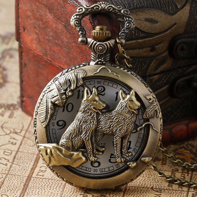 Classic Vintage Bronze Dog Wolf Hollow Quartz Fob Pocket Watch with Necklace Cha