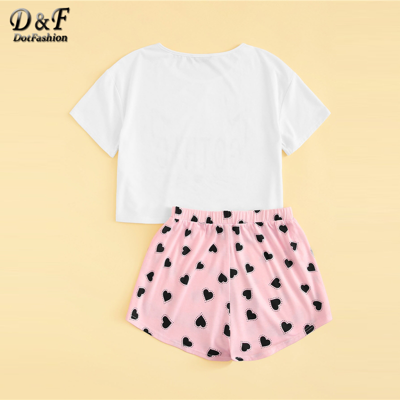 Image 3 - Dotfashion Cartoon Cat And Letter Print Tee With Heart Shorts PJ Set 2019 Summer Pajamas For Women Casual Short Sleeve Sleepwear-in Pajama Sets from Underwear & Sleepwears