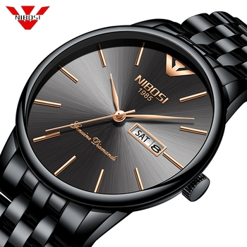 NIBOSI Fashion Luxury Brand Watches Men Stainless Steel Mesh Band Quartz Sport Watch Chronograph Men's Wrist Watches Clock Men