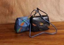 Freies Verschiffen handgemachte Ölgemälde gestrickte echtem Leder kleine Tasche Mini Frauen Handtasche weiche Leder Schulter Kreuzkörper