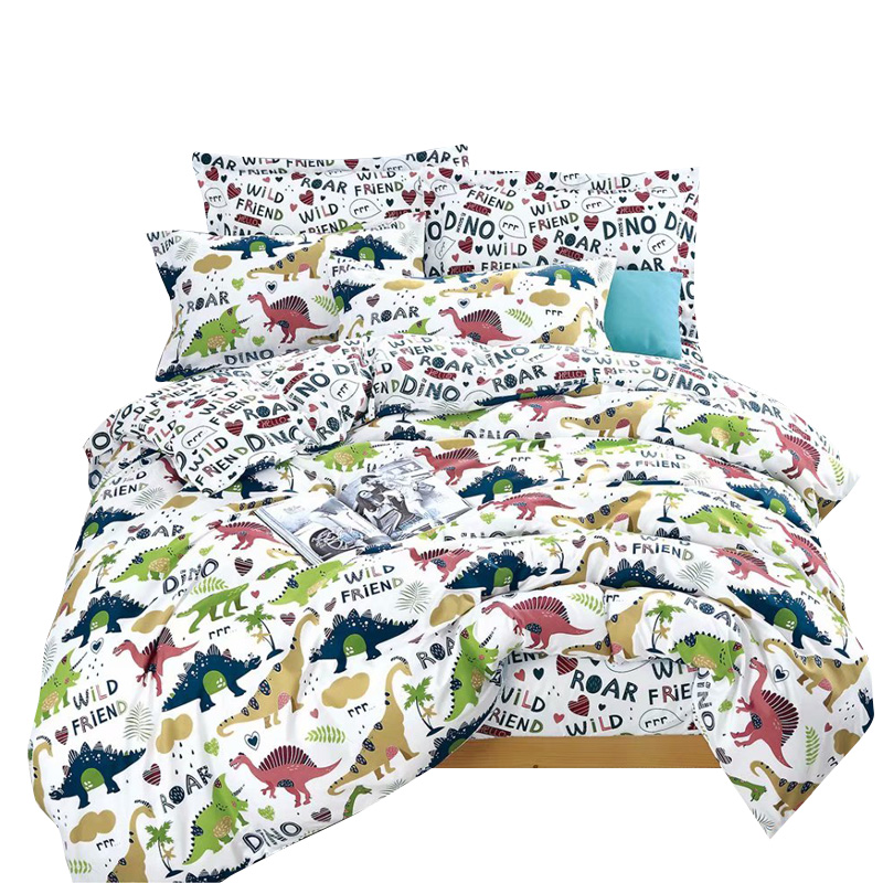 Cartoon Kids Bedding Set Crib Twin Baby Children Duvet Cover Set 2/4PCS Bed Linen Set Dinosaur No Filler Home Textile