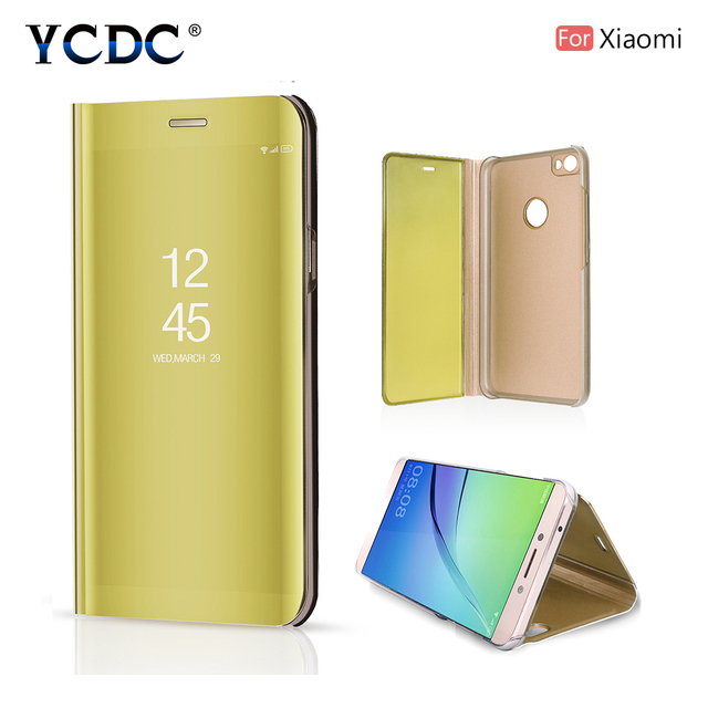 YCDC Smart Mirror Flip Phone Case For Xiaomi Mix 2 8 SE Redmi 6 6A Note 3 Note 4X 360 Degrees Protection Anti-Fingerprint