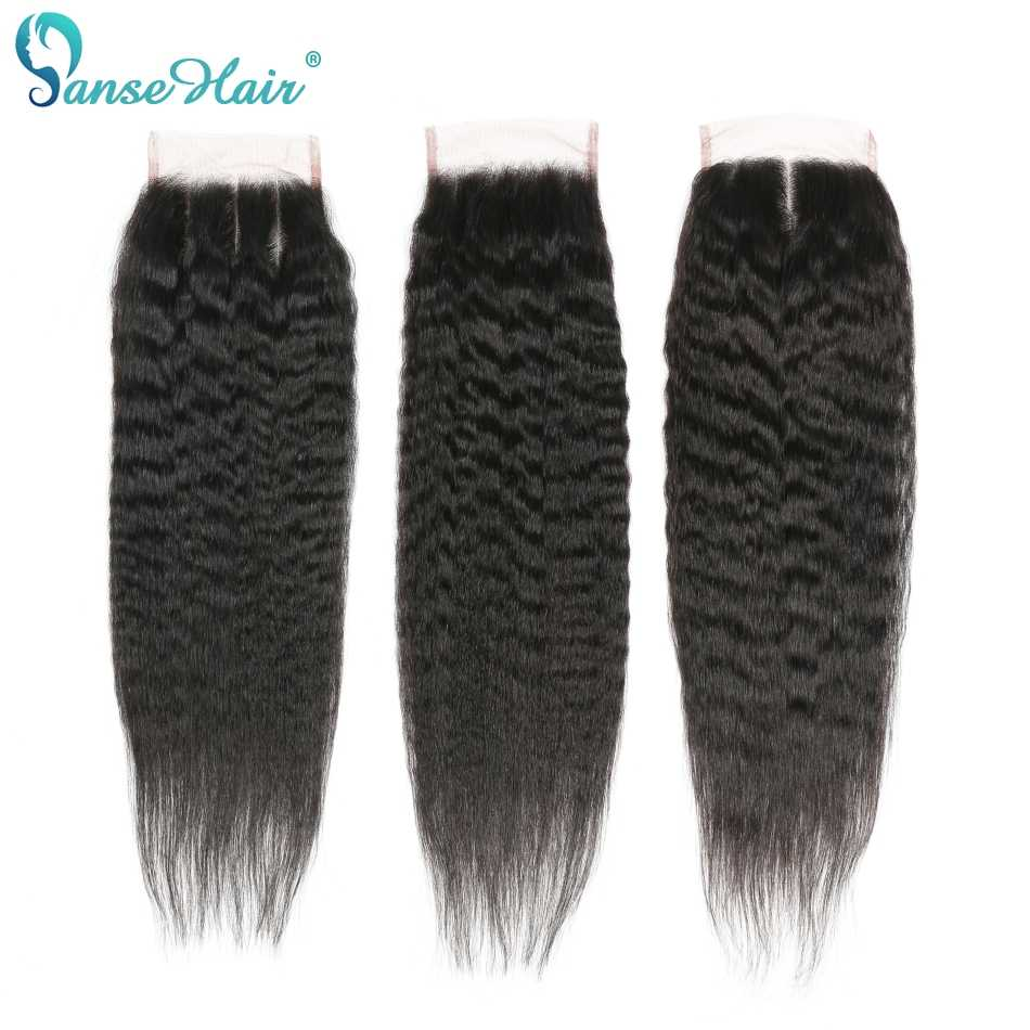 Panse Hair Indian Kinky Straight Human Hair 4 Bundles With Closure Hair Extension Non Remy Hair Customized 8 To 28 Inches