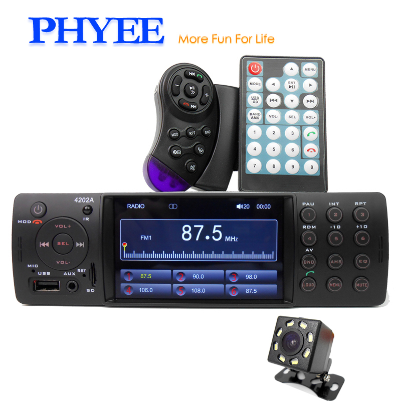 1 Din Car Stereo 4 Inch Auto Radio Bluetooth Autoradio USB SD Aux FM Receiver A2DP Handsfree In dash Head Unit PHYEE VX 4202ABT