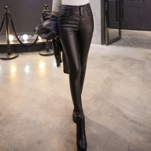 Spring and autumn slim high waist elastic plus velvet coating leather pants breasted basic pencil female