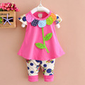 2016 Summer new baby girls clothes cotton 2pc suit O-neck flora rose yellow green color baby set A316
