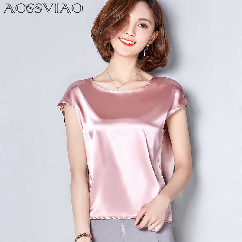 2019 New Silk Blouse Women Tops Fashion Elegant O-neck Short sleeve Solid Shirt Women Blouses Summer Casual Blusas Femininas