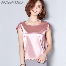 2019 New Silk Blouse Women Tops Fashion Elegant O-neck Short sleeve Solid Shirt Blouses Summer Casual Blusas Femininas