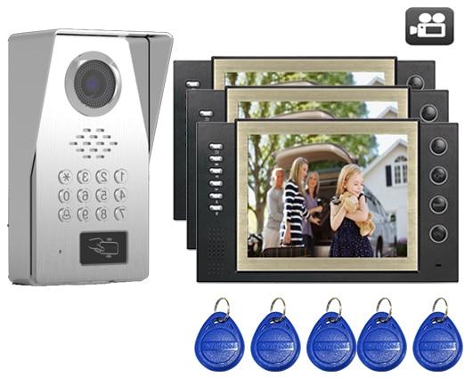 SMTVDP TFT LCD Color 8Video Door Phone Doorbell w/t SD Card Slot IR Intercom Home Security Video System FRID Camera 1V3