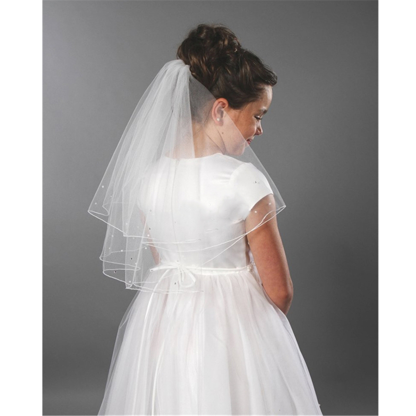 White Ivory Kid Girls First Communion Veils Tulle Two Layers Wedding Flower Girl Veil Voile Mariage Fille Velos De Novia 2019