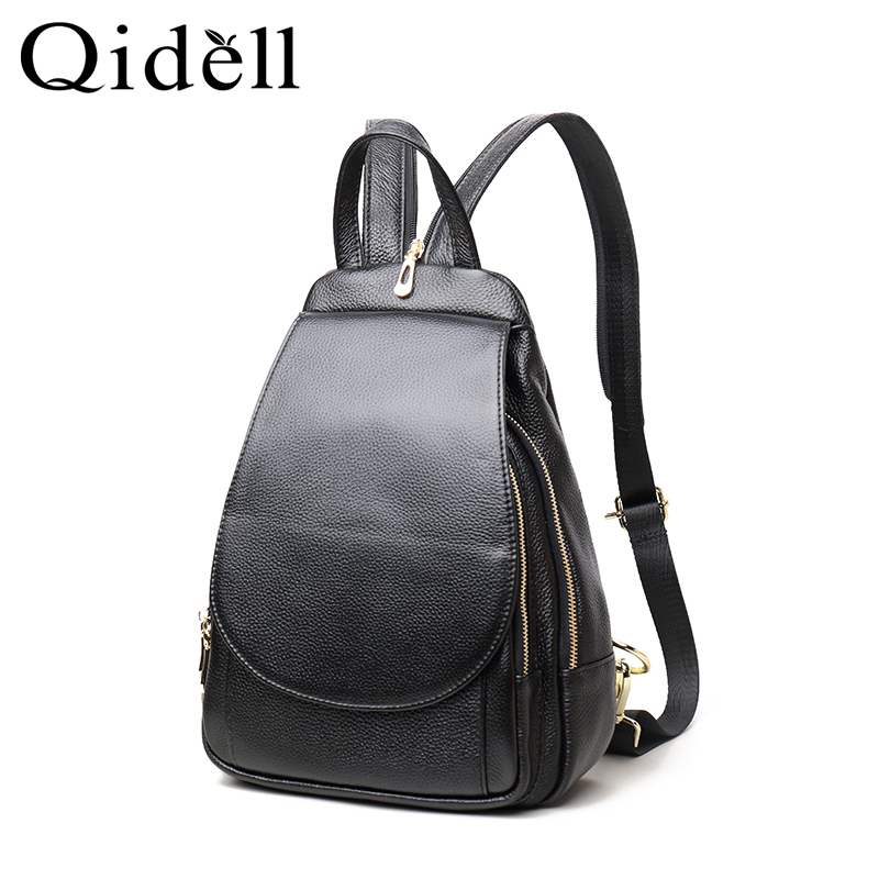 Qidell Genuine Leather 2018 New Arrival Casual Simple Well Fit In Popular Women Shoulder Bag/lady Backpack/ Female Backpack new arrival women genuine leather backpack young lady real leather backpack luxury female school bags with simple design e143